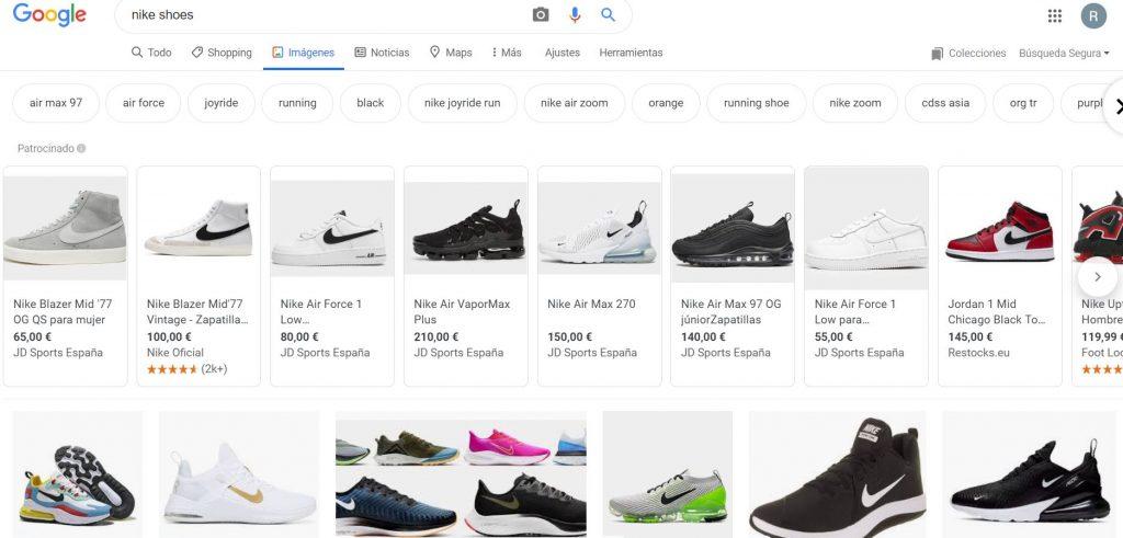 Productos de Shopping en Google Imágenes.