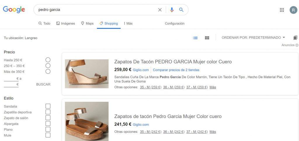 Pestaña de Google Shopping en el buscador.