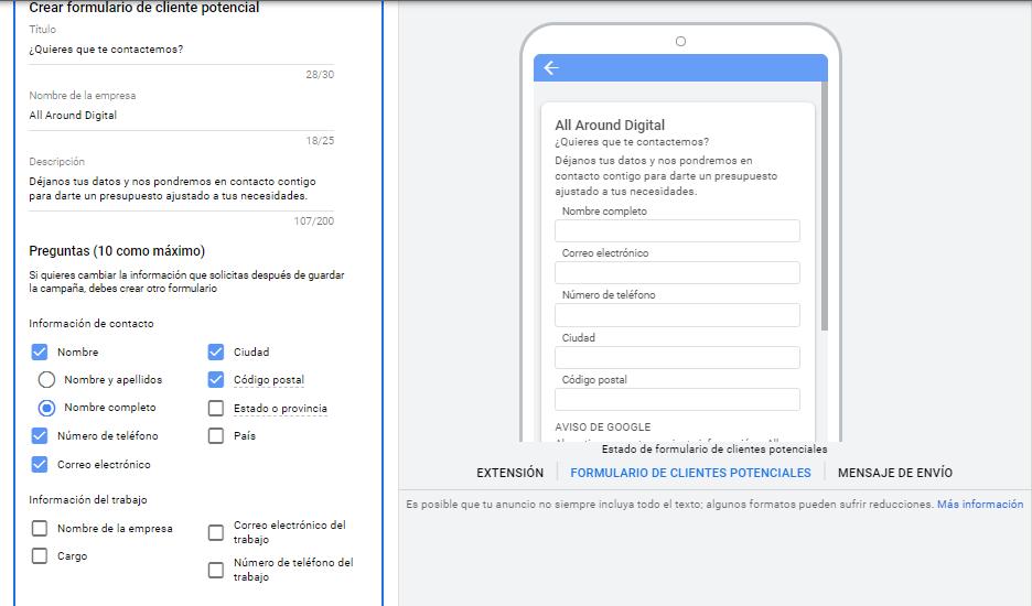 Pasos para crear el formulario de Google Ads.