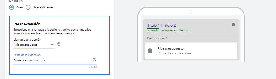 Crear extensión de Google Ads.