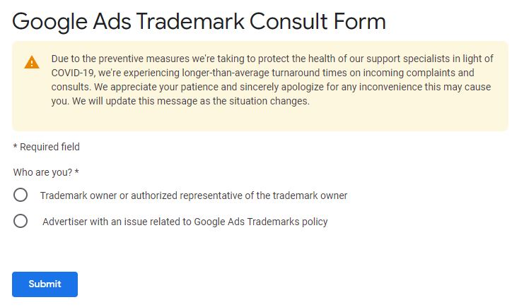 Google Trademark form