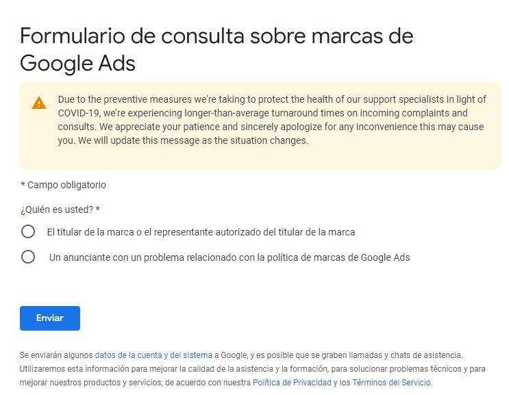 Formulario de Google Trademark.