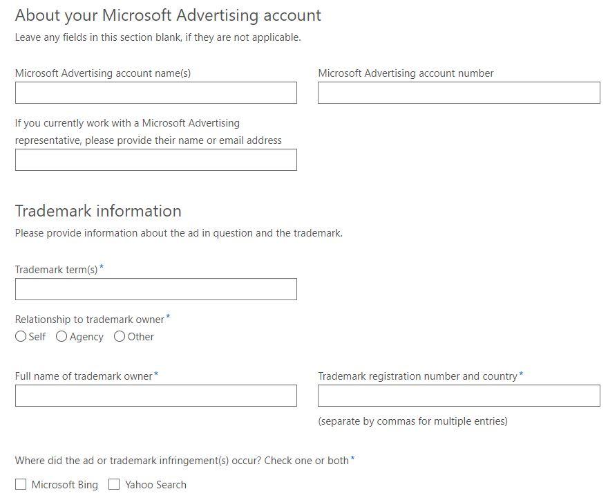 Microsoft Ads Trademark form.