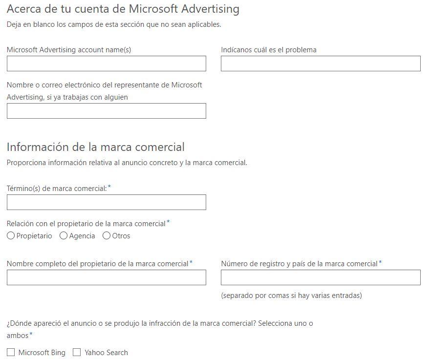 Formulario de Microsoft Ads.