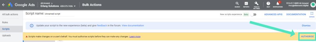 Botón de autorizar en la cuenta de Google Ads.